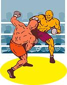 Two boxer with a right hook dodge