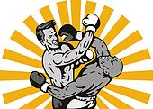 Two men boxing right cross