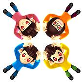 Four happy family lying down. It is expressed in gestures of love. 3D Family Character Design