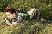 Woman with binoculars.