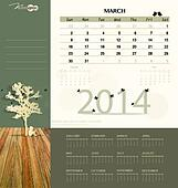 2014 calendar, monthly calendar template for March. Vector illus