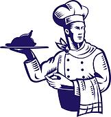 Chef with plate of food and towel