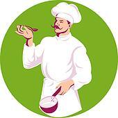 Cook tasting spoon illustration