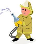 Fireman holding running hose 3D style