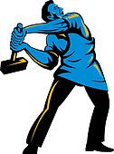 Blue worker with a hammer
