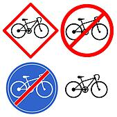 Large blue and red bicycle signs