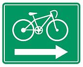 Large green bicycle sign
