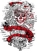 sailor skull with flower