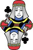 Stylized Queen of Clubs no card