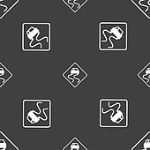 Road slippery icon sign. Seamless pattern on a gray background.
