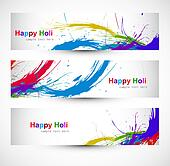 Header colorful set grunge dirty of holi festival vector design