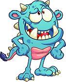 Blue cartoon monster