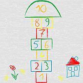 Doodle illustration with hopscotch