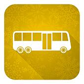 bus flat icon, gold christmas button, public transport sign