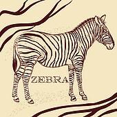 Savanna background with zebra in sepia