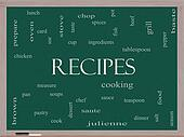 Recipes Word Cloud Concept on a Blackboard