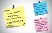 different colorful happy mothers day quotes post it note set. three unique creative quotes by kids thanking mother using color postit notes - relationship gratitude concept illustration collection