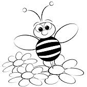 Coloring page - Bee and daisy