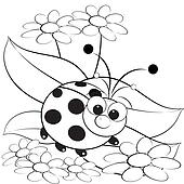 Coloring page - Ladybug and daisy