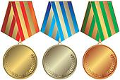 Silvery, golden and bronze medals