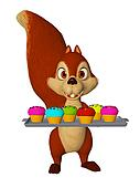 cartoon squirrel with cupcakes, children party