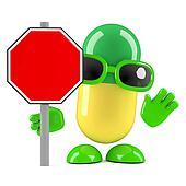 3d Pill roadworks sign