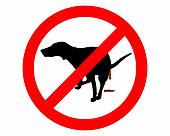 Traffic sign: It�s forbidden for dogs to take a dump