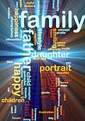 Family word cloud glowing