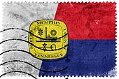 Flag of Memphis, Tennessee, old postage stamp
