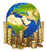 Planet Earth and a pile of gold coins