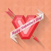 abstract arrow heart happy valentine banner