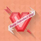 abstract arrow heart happy valentine banner
