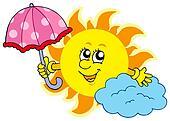 Cute cartoon Sun with umbrella
