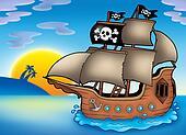 Pirate ship on sea