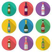 alcohol bottles icons set