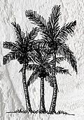 illustrations silhouette of  palm trees  with leaves  on wall te