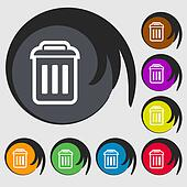 the trash icon sign. Symbol on eight colored buttons.