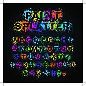 Colorful paint splatter alphabet