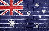 Flag of Australia on brick wall