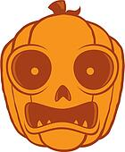 Frightened Halloween Jack O Lantern