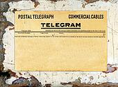 Telegram on Grungy Painted Wood