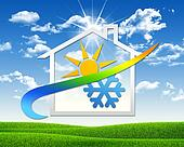 House icon with weather symbol