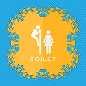 toilet. Floral flat design on a blue abstract background with place for your text.
