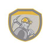 Metallic Coal Miner Hardhat Holding Pick Axe Shield Retro