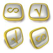 Infinity and Check 3d metalic square Symbol button. 3D Icon Desi