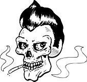 Rock and Roll style skull