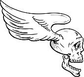 Flying skull with wings