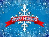 Happy Holidays Card - Blue