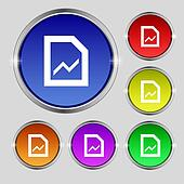 Growth and development concept. graph of Rate icon sign. Round symbol on bright colourful buttons.