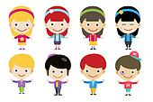 Cute cartoon boys and girls together